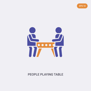 2 color People playing Table football concept vector icon. isolated two color People playing Table football vector sign symbol designed with blue and orange colors can be use for web, mobile and logo