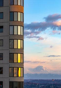 Sunrise over Seattle's high rise condo building