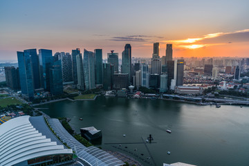 Wall Mural - Singapore financial district skyline in beautiful sunset, Singapore city
