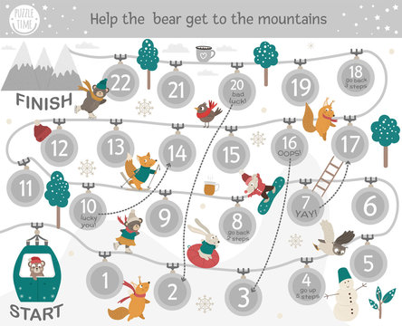 Winter adventure board game for children with sports and activities. Educational holiday boardgame. Puzzle with forest animals in funicular cable car. Help bear get to the mountains..
