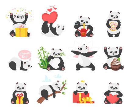 Cute pandas flat illustrations set