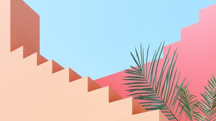 Fototapeta Bright design against the blue sky with tropical palm leaves - 3D, render.Architectural background of buildings with stairs and arches.  Banner, poster, card for travel, presentations with copy space. obraz