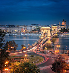 Printed kitchen splashbacks Budapest View on the famous Chain Bridge, Budapest in sunset.