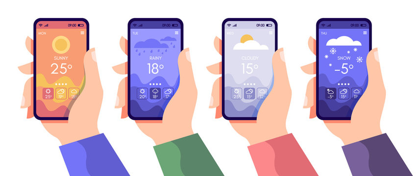 Hands holding smartphone with weather app, cloudy, rainy and sunny day concept, touchscreen device with different seasons and daily temperature, vector flat illustration for websites and banners desig