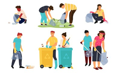Recycling characters. Cartoon men women and children collecting garbage in containers for sorting and recycling. Vector illustrations environment scene cleaning garbage for recycle and separate set