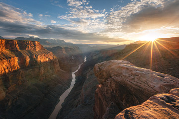Golden sunset at the Grand Canyon, Arizona, USA.