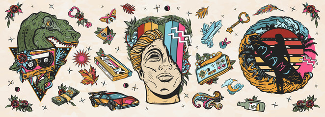 Retro wave music art. Old school tattoo vector collection. Statue head, laser tyrannosaur, surfing woman, future car. Audio cassette, VHS type. Nostalgic cyberpunk style, 80s and 90s pop culture