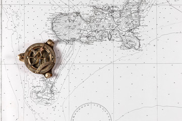 Foto auf AluDibond Schiff Nautical chart with compass, nautical concept