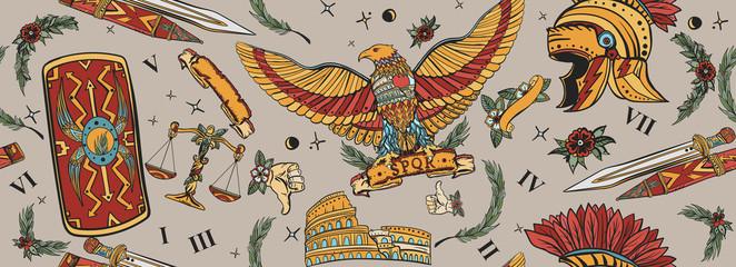 Roman eagle, spartan helmet, sword, shield and Colosseum. Ancient Rome seamless pattern. History of Italy. Traditional tattooing background. Old school tattoo style