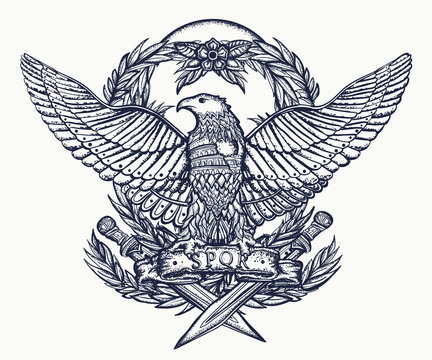 Roman Empire. Imperial eagle and crossed swords. Ancient Rome art. Tattoo and t-shirt design. History of Italy
