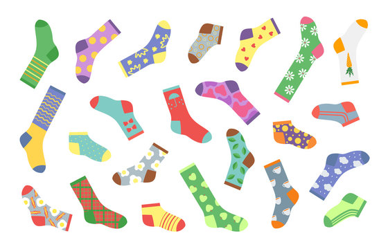 Cartoon socks. Bundle of socks with textures and patterns, image winter clothing elements. Vector flat design creative set of different woolen and cotton socks with holiday patterns