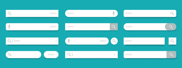 Search bar. Web UI elements for browsers with text field and search button, mobile application graphic elements collection. Vector set computer illustration searched navigator