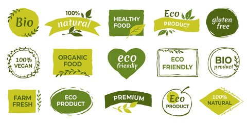Eco logo. Organic healthy food labels and vegan products badge, nature farmed food tags. Vector design elements image gluten free and bio stickers or green tag natures quality Wall mural