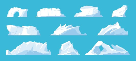 Photo sur Aluminium Bleu ciel Icebergs. Arctic and North Pole landscape elements, melting ice mountains and glaciers, snow caps and freeze ocean. Vector set illustration ice mountain in travelling on Antarctica