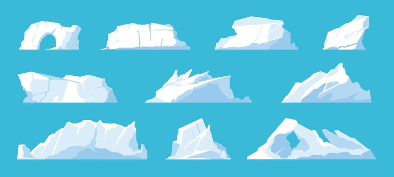 Icebergs. Arctic and North Pole landscape elements, melting ice mountains and glaciers, snow caps and freeze ocean. Vector set illustration ice mountain in travelling on Antarctica
