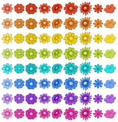 Wall Mural - Isolated set of flowers