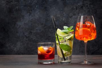 Foto op Plexiglas Alcohol Three classic cocktail glasses
