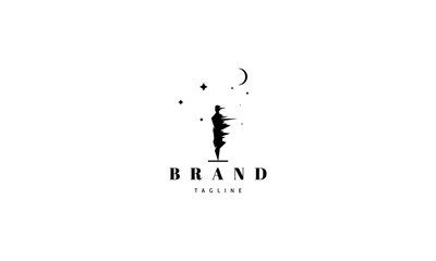 Vector logo on which an abstract image of a man under a strong wind against the background of the moon and stars.