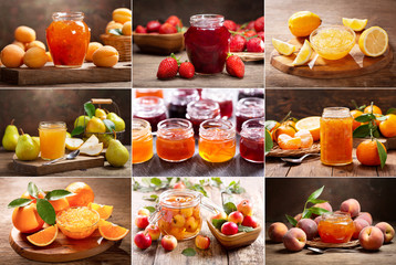 collage of various types fruit jam
