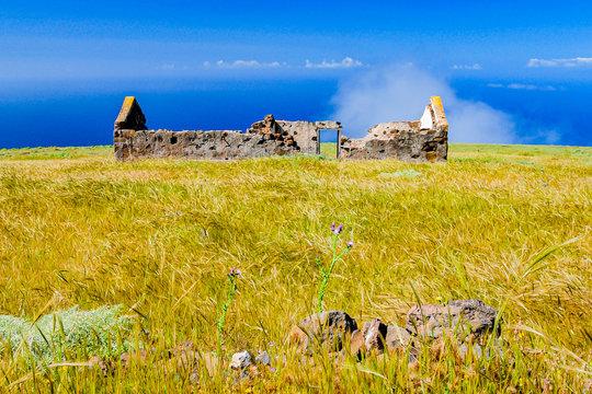 600 Meter über dem Atlantik am Valle Gran Rey auf der Insel La Gomera verlassenes Haus