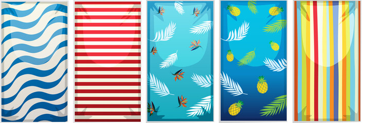 Different designs of beach towels