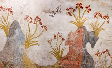 Fototapeten Santorini Springtime Fresco with trees, lilies flowers and swallows from palace of Minoan Settlement at Akrotiri on Santorini island, Cyclades, Greece