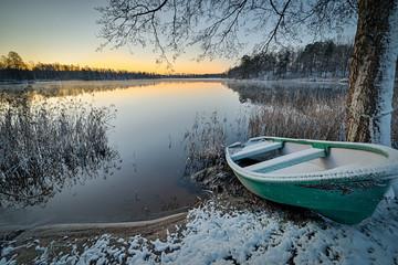 Aluminium Prints Dark grey Swedish lake morning in winter scenery