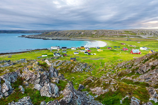 View at abandoned fishers' village Hamningberg and the shore of the Barents Sea as viewed from the fort. Finnmark, Norway.