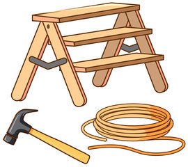 Set of ladder and hammer