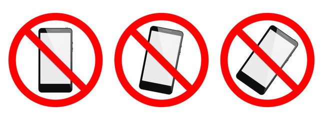 No phone, no smartphone sign on white background