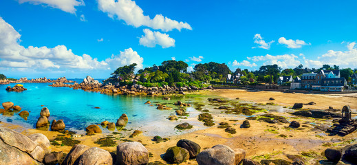 Canvas Prints Blue Saint Guirec bay beach. Perros Guirec, Brittany, France.