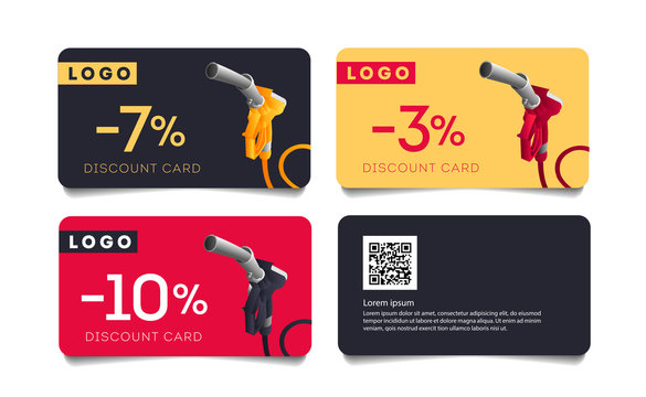 Set of discount cards with fuelling gun nozzel illustration and per cent number, template layout for transport or gas station promo