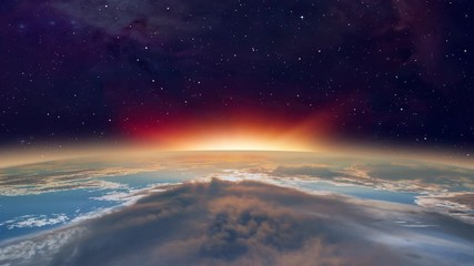 Fototapete - Planet Earth with a spectacular sunset