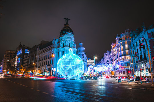 Christmas decorations in Gran Via, Madrid, Spain at night