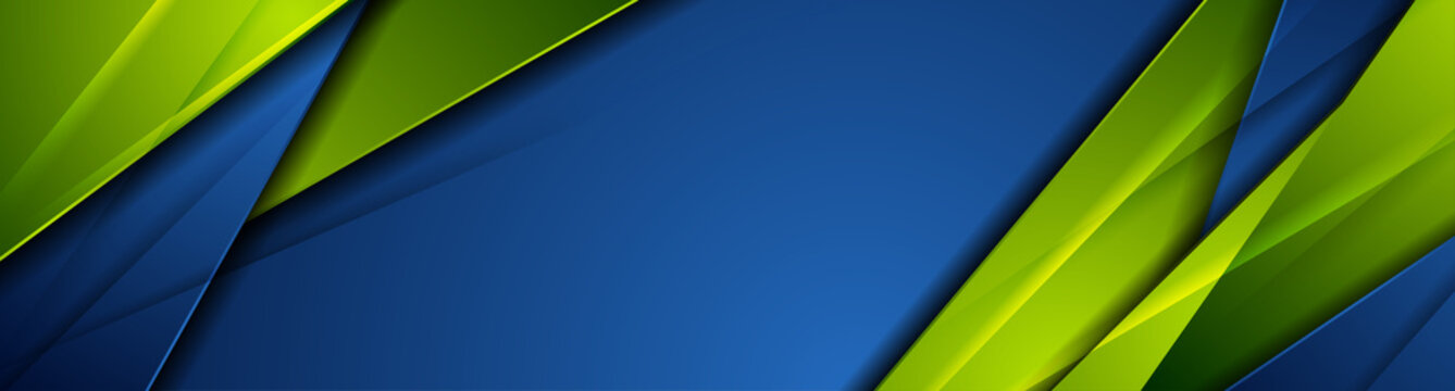 High contrast blue and green glossy stripes. Abstract tech graphic banner design. Vector corporate background