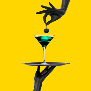 Black Hand holding tray with cocktail martini glass isolated on yellow. Party promo banner creative concept with alcoholic drink beverage, 3d illustration.