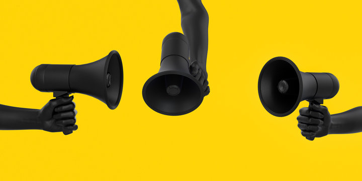Black hand holding Megaphone on yellow background in different poses. Isolated loudspeaker announcement and Sale creative banner concept. 3d rendering.