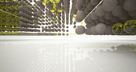 Abstract architectural white interior  from an array of concrete and glass spheres with large windows. 3D illustration and rendering. Fotoväggar