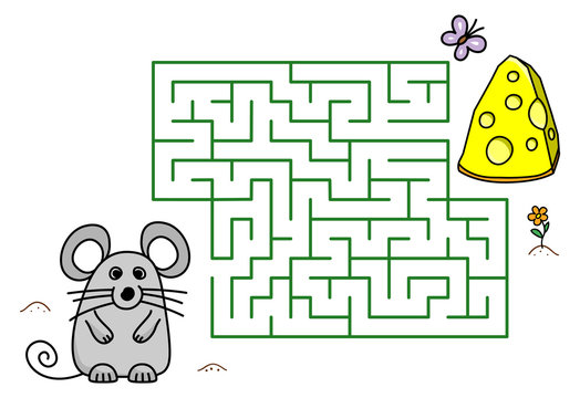 Maze game with cartoon mouse and cheese. Kids education. Color template design with pet on white background. Line art vector