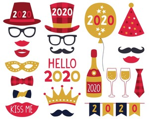 New Year 2020 party photo booth props set
