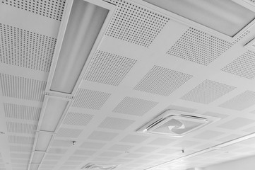 acoustic ceiling with lighting and air condition