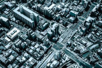 Aerial view of Tokyo streets, city urban development, Japan