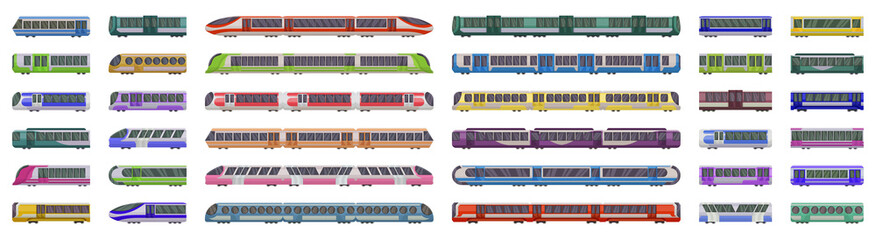 Papiers peints Cartoon voitures Subway train vector illustration on white background .Set cartoon icon transport metro.Vector illustration set icon subway train.