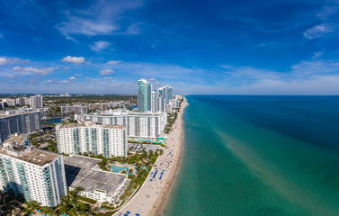 Aerial view beach panorama of Miami Beach, panorama stitched from 9 photos