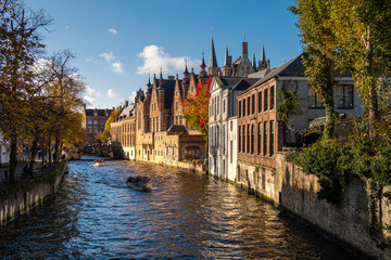 Photo sur Toile Bruges buildings along the river in brugge