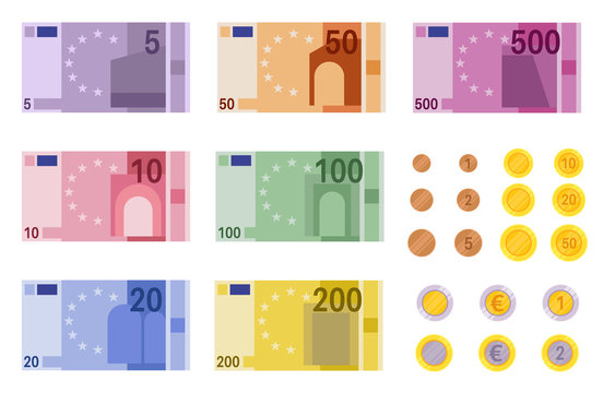 Euro banknotes. European banks financing, paper euro and dollar money and coins of different denominations, business banking vector element