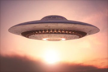 Deurstickers UFO Unidentified Flying Object - Clipping Path Included