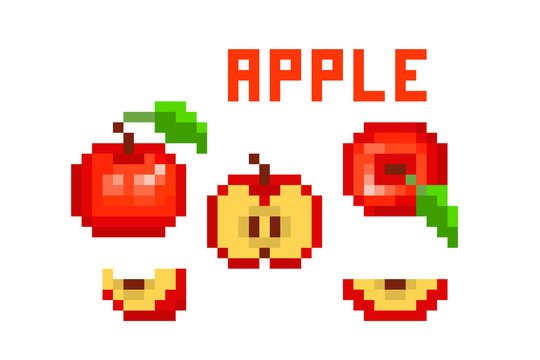 Set of pixel art red apple (uncut, cut in half, sliced, top view) icons isolated on white. Collection of 8 bit garden fruit symbols. Old school vintage retro 80s, 90s slot machine/video game graphics