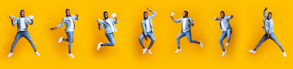 Collage of funny afro guy jumping in air on yellow background