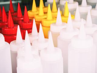ketchup plastic bottles in a market